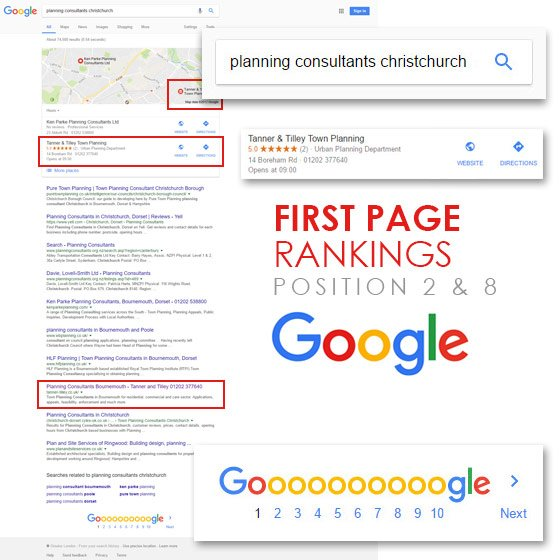 Tanner and Tilley first page Google rankings, by Smoking Chill Media