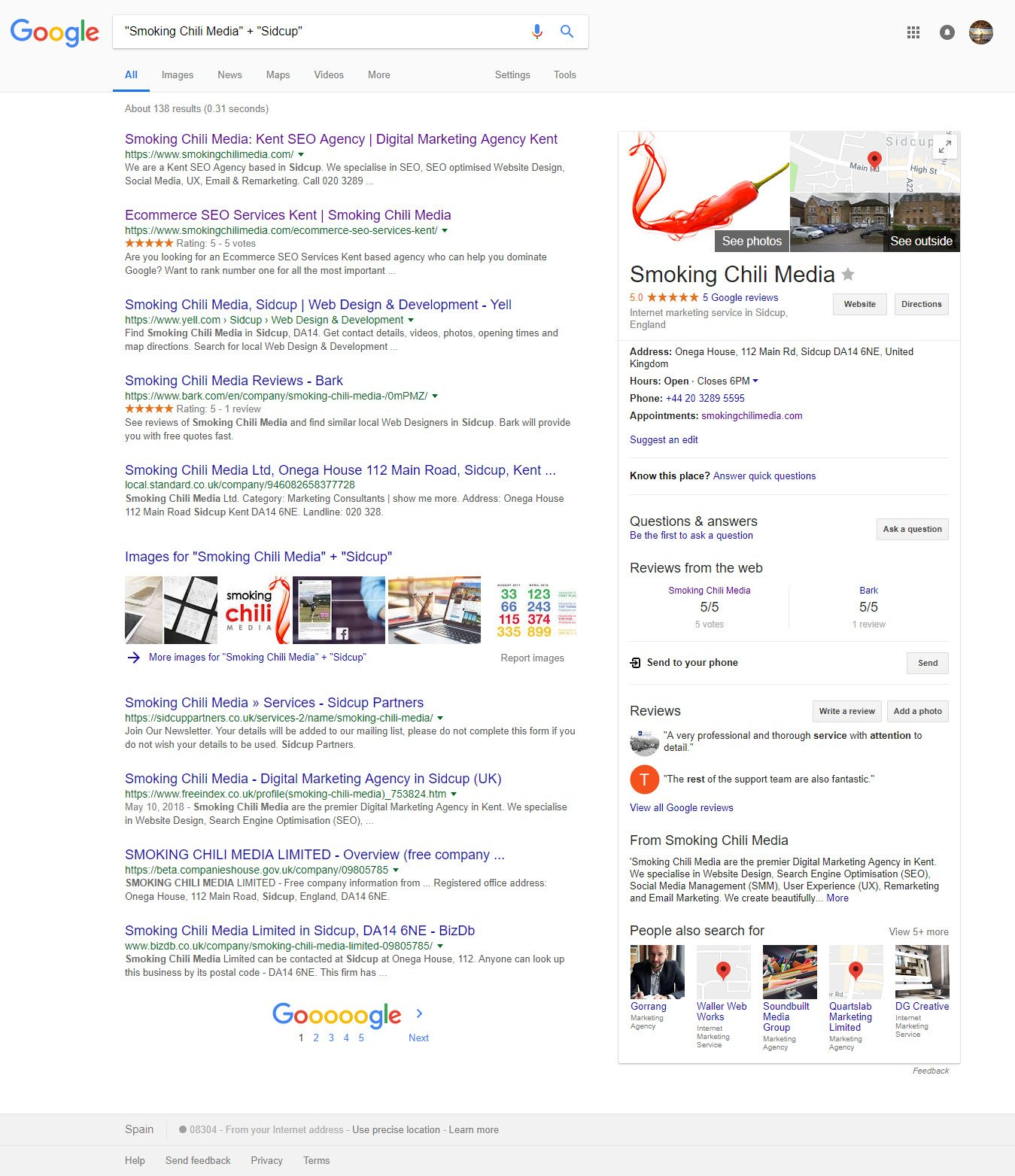 Smoking Chili Media Sidcup Google My Business Knowledge Panel Result