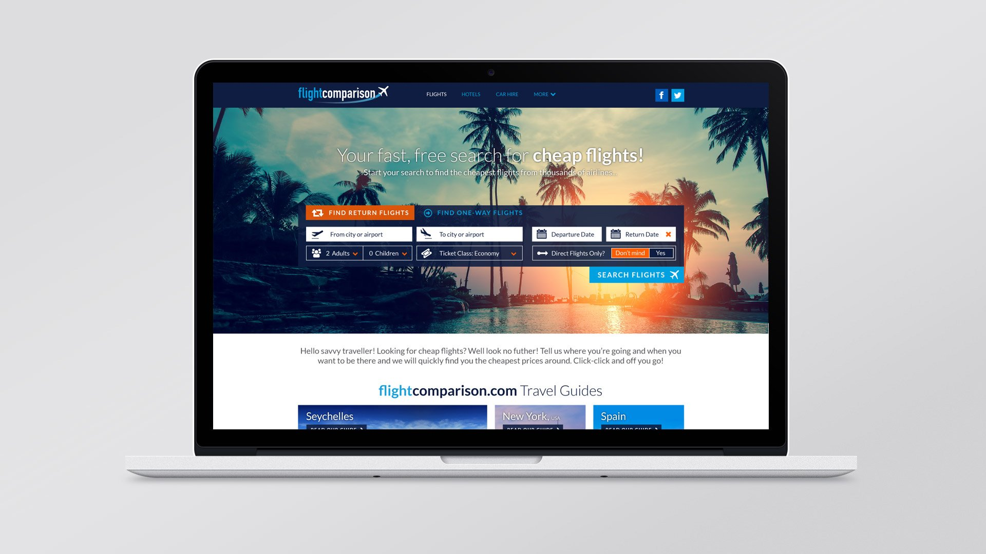 Flight Comparison homepage design
