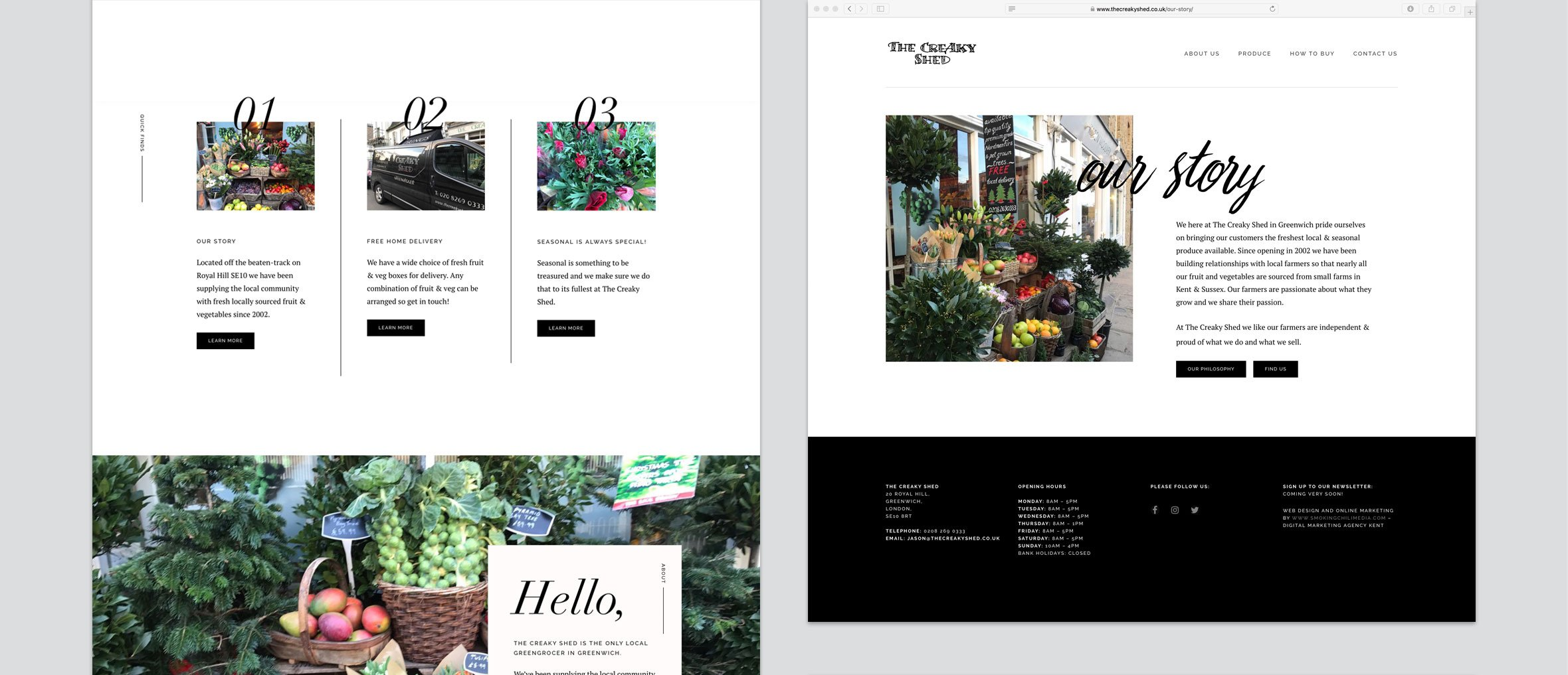 The Creaky Shed Website Design